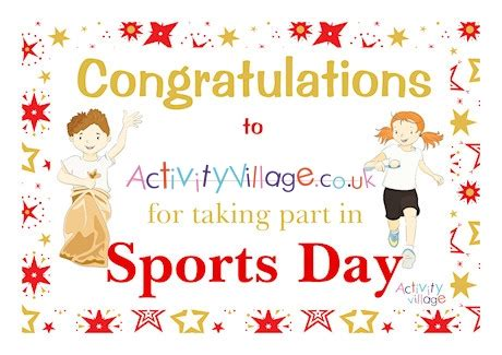 sports day certificate participation