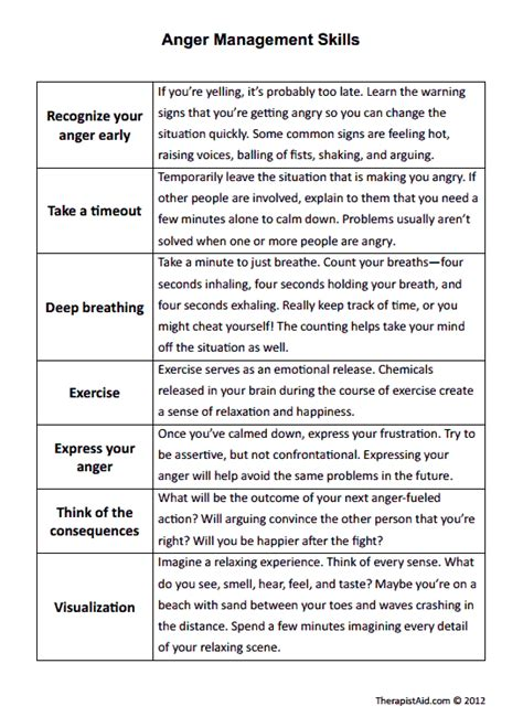 anger management skills worksheet counseling stuff