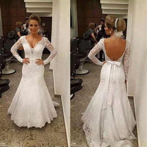vestido de noiva sexy open  lace wedding mermaid dress