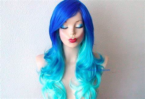 Blue Wig Ombre Wig Electric Blue Turquoise Teal Gradient