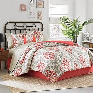 carina 6 8 piece complete comforter set in coral bed With bed bath and beyond sheet sets queen