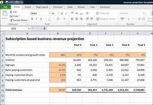 Subscription based business revenue projection plan for Annual projection template