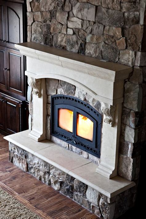 custom cast stone fireplace mantel  stone wall