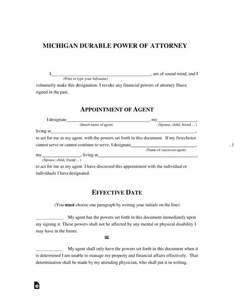blank power of attorney form illinois free michigan power of attorney forms pdf word