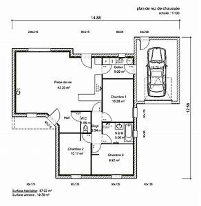 plan de maison 100m2 With maison de 100m2 plan 14 plan appartement 50m2