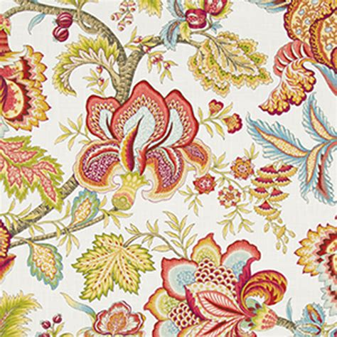jacobean floral curtain fabric jacobean swag coral floral drapery fabric by robert allen