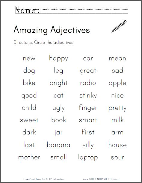 mesmerizing adjectives worksheets for grade 2 with answers
