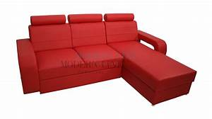 Red leather sleeper sofa smalltowndjscom for Red sectional sofa with sleeper