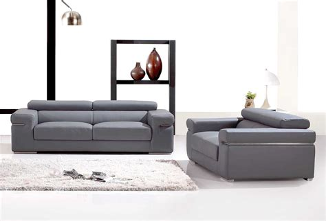 canape gris cuir deco in ensemble canape 3 2 places en cuir gris