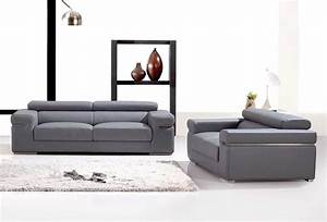 Deco in paris ensemble canape 3 2 places en cuir gris for Ensemble canape cuir 2 3 places