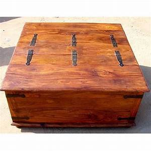 large square storage box trunk with metal accents coffee With oversized square wood coffee table