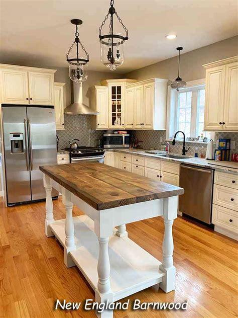 rustic farmhouse double kitchen island  england barnwood