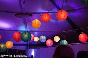 Multi Colored Paper Lanterns in a Frame Tent at Night ...