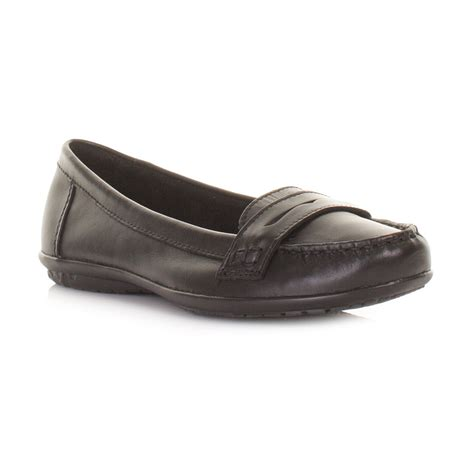 womens hush puppies ceil black leather ceil penny loafers