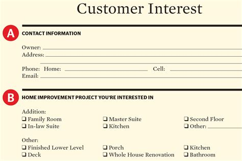 home design and remodeling gathering a customer interest form