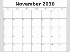 November 2030 Free Calendar Template