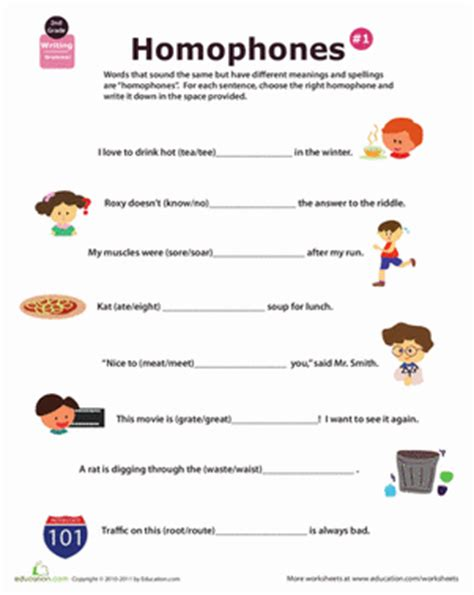 homophone definition worksheet education