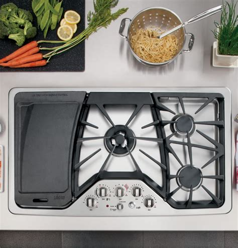 ge cgpsetss   gas cooktop  griddle accessory precise simmer burner sealed cooktop