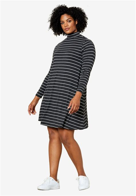 Mock Neck Embroidery A Line Dress mock neck a line dress by ellos 174 plus size casual