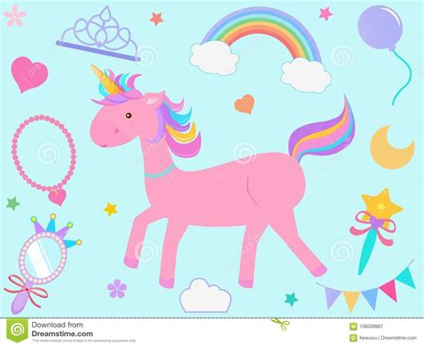 vector l illustrazione fumetto rosa dell unicorno con