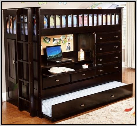 bunk bed with trundle and desk bunk bed with desk drawers and trundle desk home