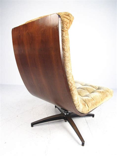 mid century modern shell back swivel lounge chair for sale