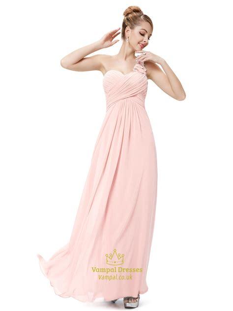 Light Pink One Shoulder Flower Strap Chiffon Bridesmaid