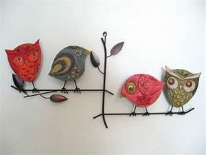 S mid century modern metal birds on a branch wall sculpture