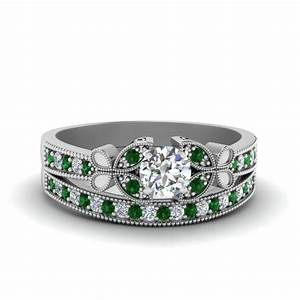 Vintage butterfly round diamond engagement ring set with for Emerald cut diamond wedding ring sets