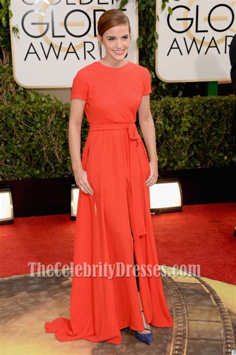 Emma Watson Red Backless Prom Dress Golden Globe