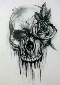 Skull with Rose Sketches and Drawings