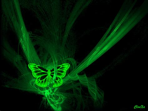 le de bureau neon papillon néon vert fond noir
