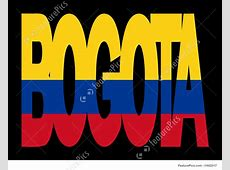 Illustration Of Bogota Text With Flag