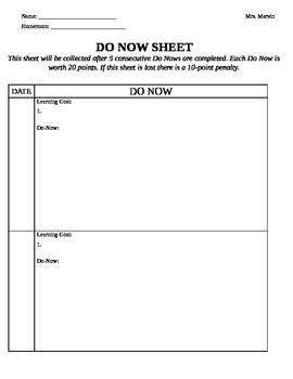 weekly do now sheet by lindsay marvin teachers pay teachers