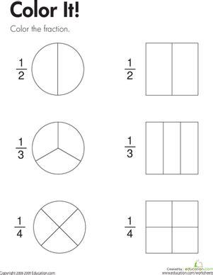 fraction practice color it worksheet education