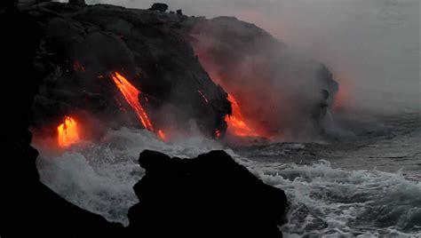 kilauea volcano lava hits  ocean    youtube