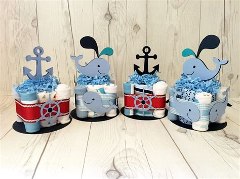 nautical  whale themed baby shower centerpieces chic