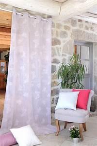 Voilage Lin Blanc : voilage avec imprim papillons rose blanc lin gris homemaison vente en ligne voilages ~ Teatrodelosmanantiales.com Idées de Décoration
