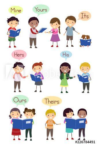 stickman kids possessive pronouns illustration stock
