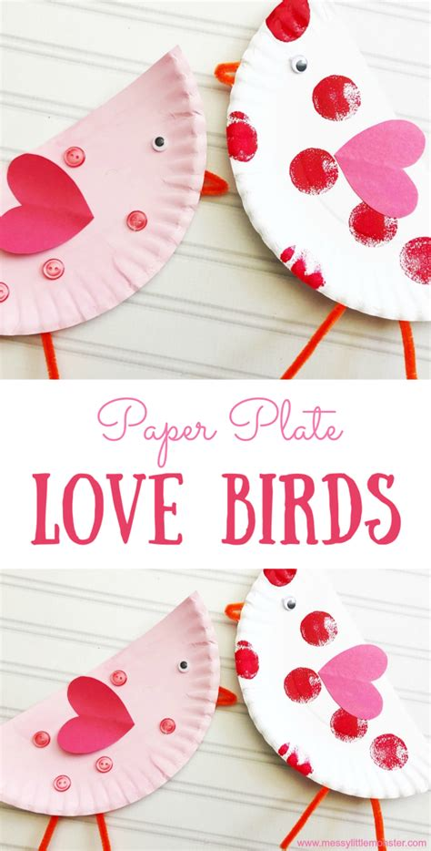 paper plate love birds valentines day craft messy