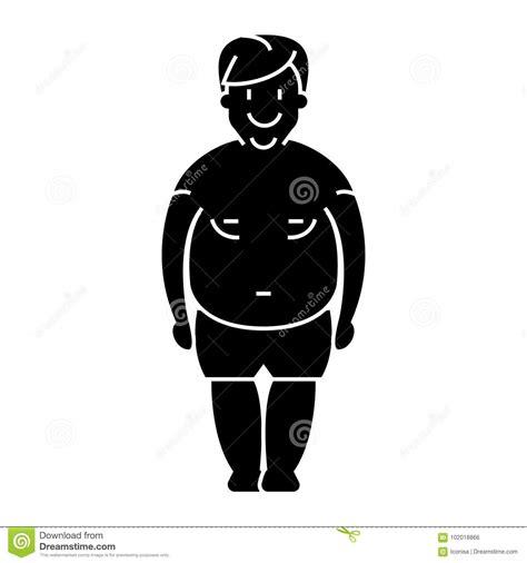 foto de Man Fat Fat Guy Icon Vector Illustration Black Sign On