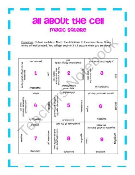 magic square cells worksheet answers 676 best images about science 6th 12th grade on review labs and physical science