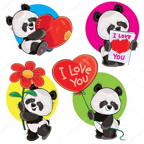 im 225 genes osos pandas animados vector d 237 a de san valent 237 n con lindos osos panda vector