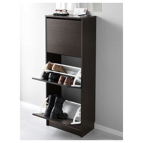 Ikea Bissa Shoe Cabinet Nz by Bissa Shoe Cabinet With 3 Compartments Black Brown 49x135
