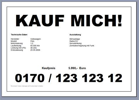 privat auto verkaufen gratis kfz preisschild f 252 rs auto word datei autofreund24