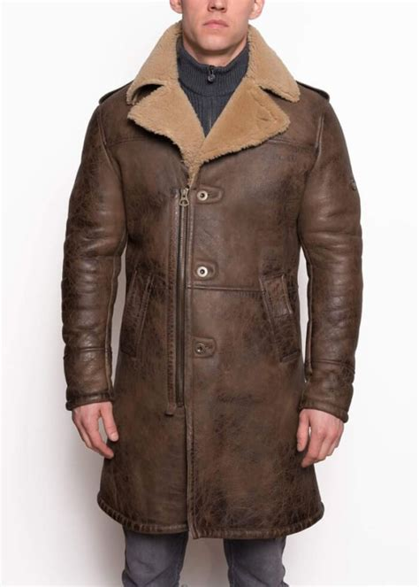 trench coat leather shearling brown sheepskin jacket mens aviator william b3