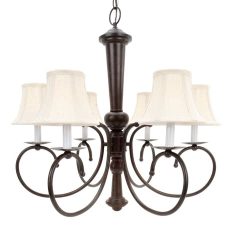 6 Light Chandelier With Shades by Glomar 6 Light Bronze Chandelier With Linen