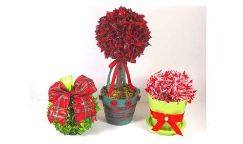 diy christmas tree ribbon topiary  ornament decorations
