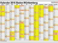 Kalender 2016 BadenWürttemberg Ferien, Feiertage, Excel