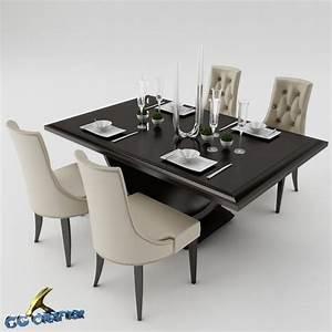 Dining table set 3d model max obj 3ds fbx mtl for Kitchen furniture 3ds max free